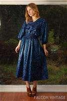 Vtg Diane Freis Indigo Floral Balloon Sleeve Boho Hippie Maxi Dress