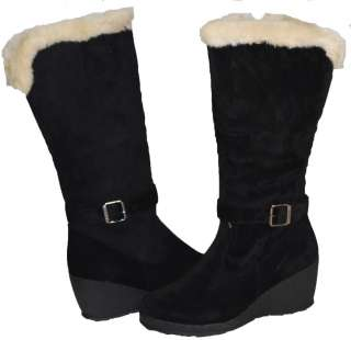 SNOW FASHION BLACK BROWN BOOTS FUR WEDGES KNEE HIGH SIZE 7 12
