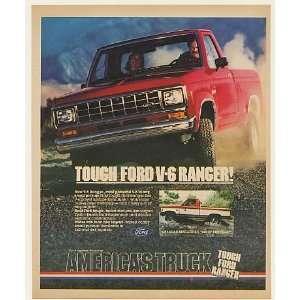 1983 Ford V 6 Ranger Pickup Tough Americas Truck Print Ad