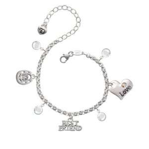 Silver Best Friend Love & Luck Charm Bracelet with Clear
