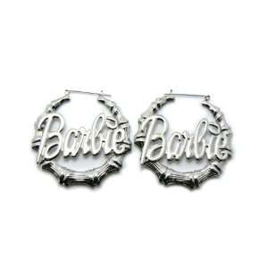 Silver Nicki Minaj Barbie Bamboo Hoop Earring Jewelry