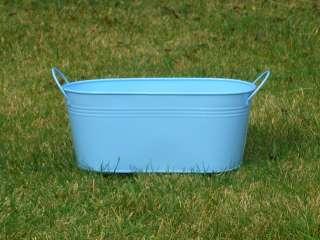 Aqua Baby Blue Galvanized Metal Enamel Oval Oblong Tub Planter Pot