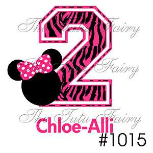 Hot pink Zebra Minnie Mouse Age number Birthday Shirt tee t shirt