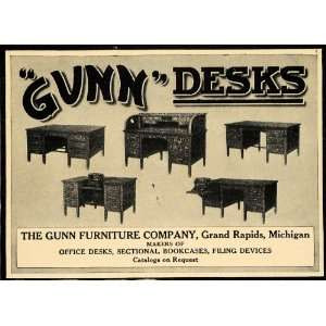 1912 Ad Gunn Furnitures Wooden Office Desks Bookcases