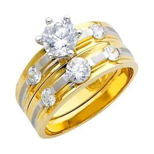 Ladies Engagement Ring and Wedding Band 2 Two Piece Set   Size 4