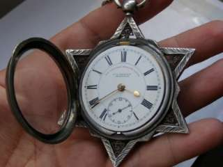 Antique Fusee English lever silver watch Jewish star of David and