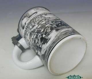 Vintage Ceramic Pewter Lidded Beer Stein Germany 1960s