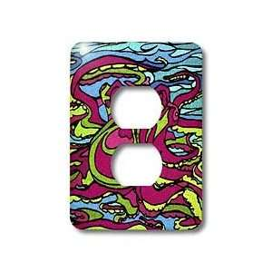 AlienJunkyard Folk Art   Pink Octopus   Light Switch Covers   2 plug