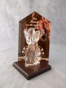 True Friends Are The Angels In Our Lives Figurine Wood Base