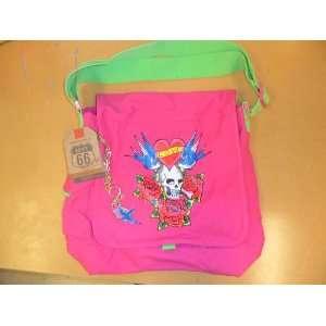 Skull and Cross Bones Roses Pink Messenger Bag Sports