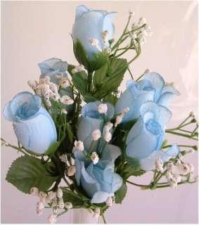84 Roses BABY LIGHT BLUE Wedding Bouquet Silk Rose Bud Centerpiece