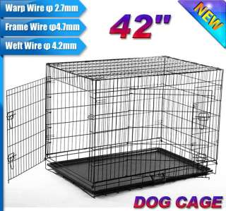 42 Medium Folding Metal Dog Crate Cage Pet Kennel With Divider