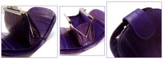 Genuine Eel skin Leather Halfmoon Wallet with Coin Purse Case PURPLE