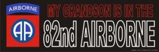 BUMPER STICKER DECAL ARMY MY GRANDSON IS IN THE 82nd AIRBORNE