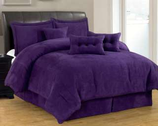 Micro Suede Comforter Set Brown Black Purple Navy Blue Pink