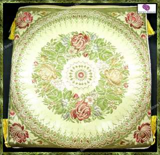 Silk Floral Embroidered Cushion Cover Gold Shiny Thread