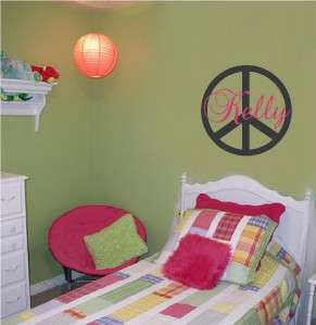 Personalized Peace Sign Wall Sticker Vinyl Decal Name