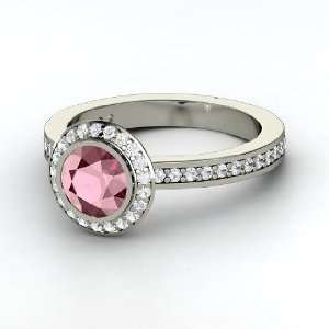 Roxanne Ring, Round Rhodolite Garnet 14K White Gold Ring