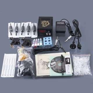 Complete Tattoo Color Inks Machines Gun Equipment Power Supply Kit Set