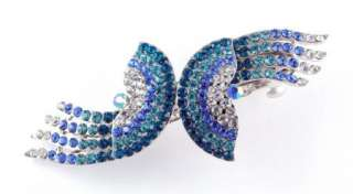 NEW LARGE BLUE CLEAR CRYSTALS FASHION HAIR BARRETTE CLIP