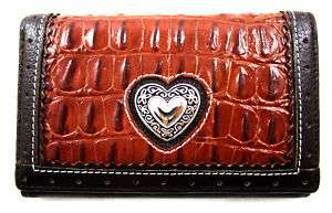 Western Heart Genuine Leather Half size Wallet Cognac