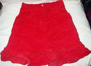 HANNA ANDERSSON GIRLS SIZE 130 BRIGHT APPLE RED VELVETEEN SKIRT W