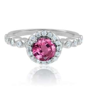 Natural Pink Sapphire Diamond Engagement Ring in Platinum Halo Ring (G