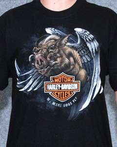 Harley Davidson Mens Hogs Fly Black Short Sleeve Biker T Shirt