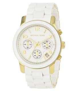 Michael Kors MK5145 Womens Gold Tone Rubber Bracelet MOP Dial