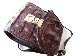 100% BROWN GENUINE CROCODILE LEATHER HANDBAG SHOULDER BAG PURSE NEW