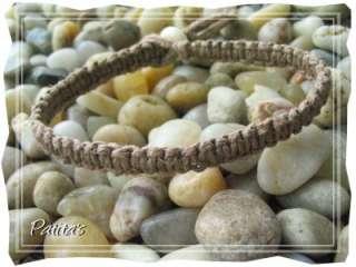 Handmade Macrame Hemp String Surfer Brown Bracelet Bone