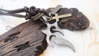 mens charm choker Fire pendant Genuine leather necklace ancientry COOL
