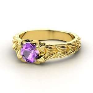 Rose and Thorn Ring, Round Amethyst 14K Yellow Gold Ring
