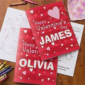 Personalized Valentines Day Coloring Book & Crayon Set Toys & Games