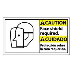 Bilingual Vinyl Sign   Caution Face Shield Required