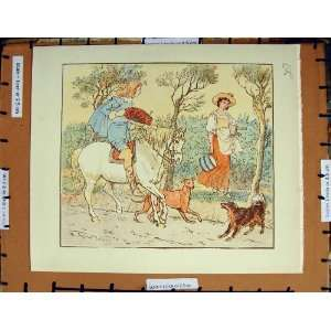 C1950 Nursery Rhyme Man Horse Romance Lady Dogs Country