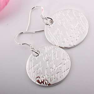 ER54 silver magic carved letters disc pendant earring