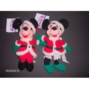 Mickey And Minnie Santa 1997   Disney Mini Bean Bag Plush