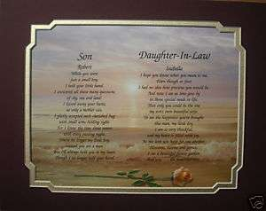 SON & DAUGHTER INLAW PERSONALIZED POEM ANNIVERSARY GIFT