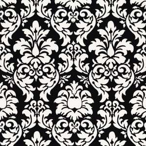 Michael Miller BLACK WHITE DANDY DAMASK  1 YD Fabric