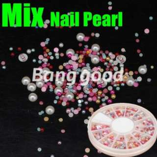 color half baby Pearl Nail Art Acrylic Rhinestones decoration Wheel