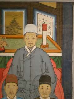 LARGE Antique CHINESE Seated ANCESTOR Family PORTRAIT Old FOK ART