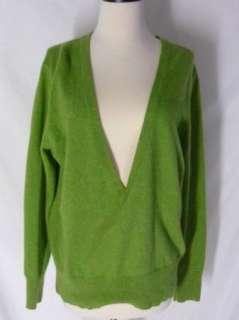 Lafayette 148 CASHMERE Sweater Green V Neck M
