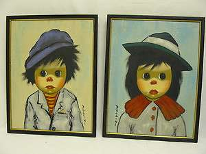 PAIR BOLLINI ORIGINAL PAINTINGS BOY GIRL CLOWN SIGNED FRAMED