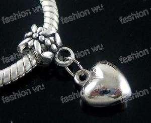 Lot 100 Pcs Loving Heart Beads Fit Charm Bracelet 1
