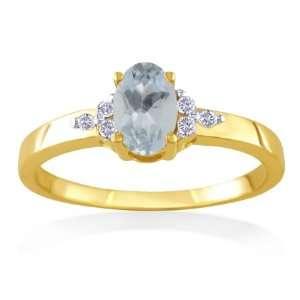 MARCH Birthstone Ring 14k Yellow Gold Diamond & Aquamarine Ring