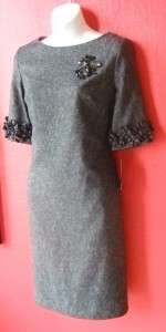 JESSICA HOWARD black white tweed VERSATILE dress with BLACK JET BEADS