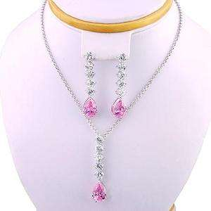 NEW CUBIC ZIRCONIA JEWELLERY SET WHITE NECKLACE EARRINGS/PENDANT FREE