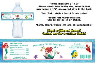 Ariel The Little Mermaid ~ Printed Water Bottle Labels ~ Birthday