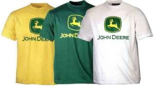 JOHN DEERE GREEN YELLOW WHITE TSHIRT T SHIRT TEE COTTON